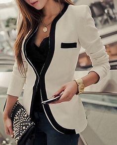 Black & White Trim Blazer - Ultimate Fashion Fix