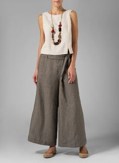 [original_tittle] – Bobbi Ketcham [pin_tittle] Linen Wide-Leg Pants Two Tone Grape Leaves Linen Dresses, Women's Dresses, Yacht Fashion, How To Wear Culottes, Fashion Pants, Fashion Outfits, Cool Outfits, Summer Outfits, Wide Leg Linen Pants