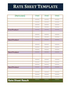 Official Design Rate Sheet Template  Collection Of Everyday Word