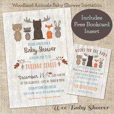Whitewash Woodland Baby Shower Invitation and Bookcard inserts combo by WeeBabyShower on Etsy https://www.etsy.com/listing/260394610/whitewash-woodland-baby-shower