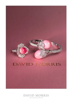 David Morris conch pearl ring and bangle showcasing pink pearls and diamonds set in white gold (Photo courtesy of David Morris) Coral Jewelry, Shell Jewelry, High Jewelry, Jewelry Art, Jewelry Rings, Fashion Bracelets, Fashion Jewelry, Pearl Bracelets, Pearl Rings