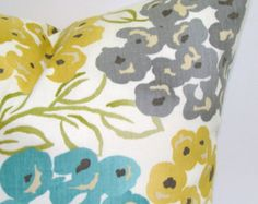 GRAY BLUE PILLOW.12x16 or 12x18 inch.Pillow Cover Teal.Gold.Housewares.Pillows.Decor.Floral Slipcovers.Turquoise.Gold.Yellow.Gray.Green.Sale