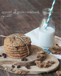 Grain-Free Oatmeal Raisin Cookies note-skip raisins, maybe add stevia and butter or coconut oil to replace honey?