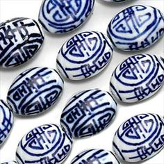 Blue and white Chinese porcelain longevity #beads