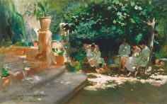 Cecilio Plá (Spanish, Ladies in the. - an art collection. Malaga, Art Espagnole, Art Nouveau, Luxembourg Gardens, Victorian Life, Rocky Shore, Impressionist Artists, Garden Park, Spanish Painters