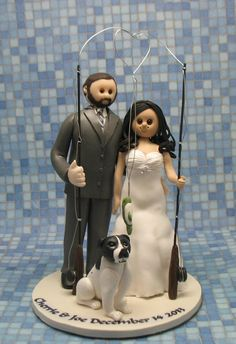 Fishing wedding couple with dog cake topper