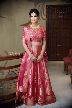 Head To Faiz-E-Noor, The Most Exquisite Banarasi Outfit Store In Delhi Banarasi Lehenga, Pink Lehenga, Lehenga Saree, Bridal Lehenga, Sarees, Mehendi Outfits, Indian Bridal Outfits, Vogue India, Traditional Looks