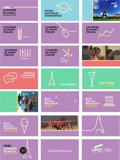 UPEC Summer school - Poster & Motion Design on Behance School Posters, Summer School, French Language, Motion Design, Visual Identity, School Design, Teaser, Mood Boards, Behance