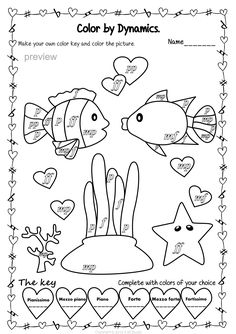 Valentine`s Day Color by Dynamics Music Worksheets, School Worksheets, Worksheets For Kids, Coloring Sheets, Coloring Pages, Colouring, How Did It Go, Instruments, Music Activities