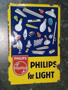 PHILIPS FOR LIGHT BULB LAMP VINTAGE ENAMEL SIGN 1940s RARE NT EDISON OSRAM MAZDA  | eBay