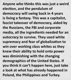 Unfortunately, in today's scary new post-election America, it is not too much of a stretch for this chilling conspiracy theory to feel all too right and true. All we can do now is to hold on to hope, stay vigilant and be prepared to fight the powers that may be arrayed against the government and people of our, hopefully still, United States of America.