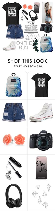 """""""On the Run"""" by athena-queen ❤ liked on Polyvore featuring JanSport, Converse, Bling Jewelry, Eos, Bobbi Brown Cosmetics, Rebecca Minkoff, Beats by Dr. Dre and Umbra"""