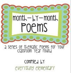 Free! A 21-page document that is a compilation of various thematic poems for your entire school year!