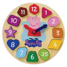 Wooden clock features chunky, easy to grip pieces and moving minute &hour arm<br>12 die-cut wooden shapes, show hours on one side, minute values on the other and a surprise image underneath!<br>Self-correcting spaces reinforce the position of each piece<br>Teaches counting, colors, shape recognition and time<br>Age: 2+