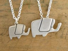 Mother daughter elephant necklace set