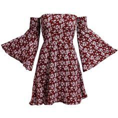 NANFANGLI Women Summer Dress Print Mini Casual Off-Shoulder Dresses... ❤ liked on Polyvore featuring dresses, summer dresses, off the shoulder dress, red summer dress, red dress and red mini dress