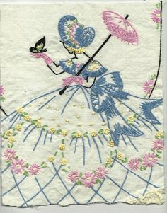 Vintage Southern Belle Embroidery Handwork Linens Hand Embroidered