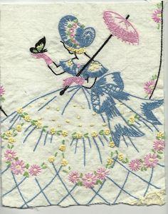 vintage southern belle   Vintage Southern Belle Embroidery Handwork Linens Hand Embroidered