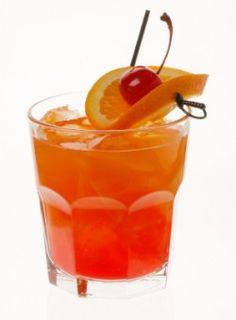 Ruby Runner    ■3 ounces Malibu coconut rum  ■2 ounces orange juice  ■2 ounces pineapple juice  ■3/4 ounce blackberry brandy  ■3/4 ounce banana liqueur  ■1 splash grenadine syrup  ■1 splash Bacardi 151 rum