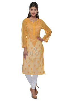 Ada Hand Embroidered Yellow Faux Georgette Lucknowi Chikankari Kurti - A141450 Price Rs.1,299.00 #Ada_Chikan #mustard chicken work kurti #lucknowi kurta wholesale #lucknow kurtas #lucknow chikan work #chikan kurta #lucknowi hand embroidery #silk chikankari kurta #lucknowi georgette kurti #lucknowi kurti for women #chikankari kurta #lakhnavi ladies kurta #chikankari dress material #chikankari anarkali kurta #yellow chikan kurta #Ethnic wear #handmade kurti #for women