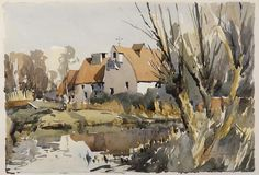 Edward Wesson (1910 - 1983, UK)   The mill house watercolour. 33 х 48 cm. (13х19 in.)