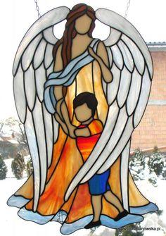 Witraże Tiffany Galeria Anna Danowska  Anioł Stróż dla chłopca 45 x 30 cm