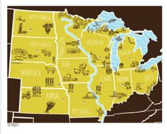 """American Atlas - Midwest by Brainstorm •16 x 20"""" •3 Colour Silkscreen Print  •Signed and Stamped £30.00 http://www.thefloodgallery.com/collections/latest-arrivals/products/american-atlas-midwest"""