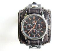 leon / Vintage čierny kožený remienok s hodinkami