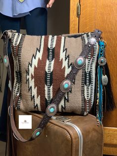 This bag was made for a customer this week. Get yours today. Diy Bags Purses, Purses And Handbags, Aztec Purses, Western Outfits Women, Cowhide Bag, Western Purses, Saddle Blanket, Cowgirl Style, Western Style