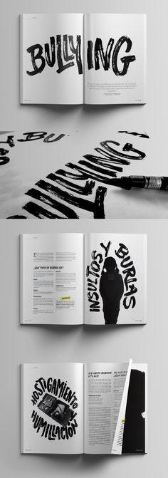 Bullying - bbmundo magazine on Behance Magazine Layout Design, Book Design Layout, Print Layout, Magazine Layouts, Graphic Design Posters, Graphic Design Inspiration, Design De Configuration, Posters Conception Graphique, Design Editorial