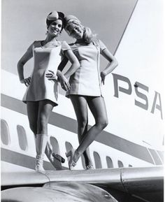 Vintage flight attendants, 1970s... PSA was an intrastate carrier operating extensive routes throughout California, including peak-hour L-1011 widebodies between LAX and SFO.