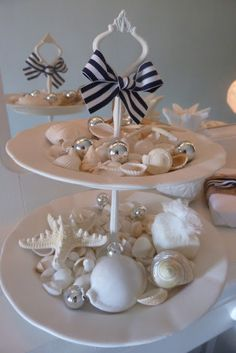 Repurposed tiered dessert trays into collectibles display for seashells, buttons and more for vintage cottage home decor; upcycle, recycle, salvage, diy, repurpose!  For ideas and goods shop at Estate ReSale & ReDesign, Bonita Springs, FL