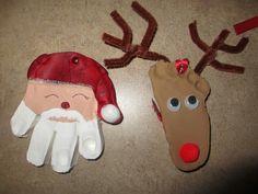 Christmas activities using handprints.  Reindeer & Santa crafts. For kids. Source: Parents Room.