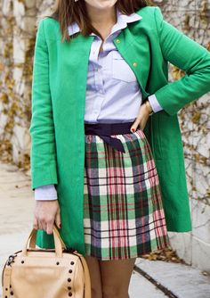 Most of the time, I tend to contrast my plaids with something edgy by pairing them with a leather jacket,… Plaid Outfits, Preppy Outfits, Cute Outfits, Autumn Style, Winter Style, Autumn Winter Fashion, Christmas Day Outfit, Sequins And Stripes, Adams Family