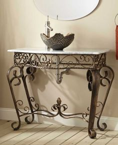 Vanna Wrought Iron Console Vanity with Recessed Marble Sink Top - Single Hole Furniture Vanity, Iron Furniture, Bathroom Furniture, Bathroom Vanities, Bathrooms, Dressing Design, Pedestal Sink, Vessel Sink, Wrought Iron Decor