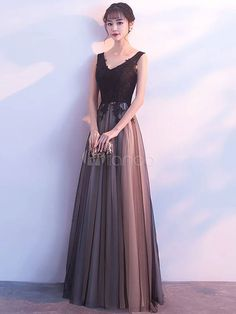 Black Prom Dresses Long V Neck Lace Tulle Sleeveless A Lien Floor Length Formal Evening Dress · Butterfly Love · Online Store Powered by Storenvy Black Evening Dresses, Black Prom Dresses, Trendy Dresses, Nice Dresses, Fashion Dresses, Formal Dresses, Dress Black, Mode Outfits, Dress Outfits