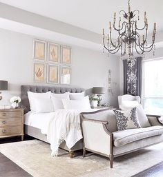 """📷: @liketoknow.it.home """"Statement chandelier and tufted detail, we are loving @decorgold's glam gray scale bedroom decor 