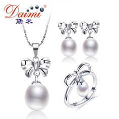 DAIMI Pearl Bowknot Jewelry Set 7-9mm Tear Drop Natural Pearl Set Pendant+Earrings +Ring Fine Jewelry Gifts For Women