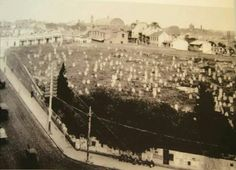 Devonshire Street Cemetery in Sydney.the site of the future Central Railway Station (year unknown). Historical Images, Family History, Cemetery, Paris Skyline, Abandoned, Sydney, Australia, Street, Places