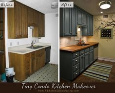 Tiny condo kitchen before and after, with teal cabinets and butcherblock countertops.