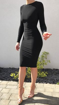A knee length bodycon dress featuring an elegant high neck and high back design. Model wears a size small. Product Details Production Handmade in England us Sexy Dresses, Cute Dresses, Fashion Dresses, Modest Fashion, Classy Outfits, Casual Outfits, Black Dress Outfits, Black Midi Dress, Skirt Outfits
