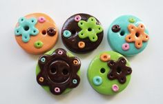 Colors and flowers - set of 5 polymer clay buttons