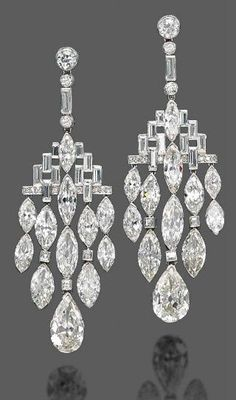 Bulgari Art Deco Diamond Ear Pendants - 1920's - Christie's