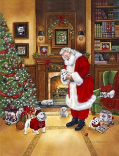 Yes, Santa wears red & black too! Not a coincidence! Go DAWGS!