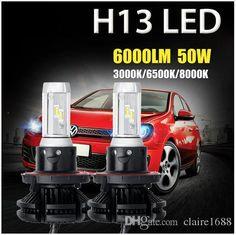 2pcs H13 Hi-lo Beam 50W/pair Car LED Headlight Bulbs CREE CSP Chips 6000lm Auto Led Headlamp 12v 24v 3000K/6500K/8000K - $90.99