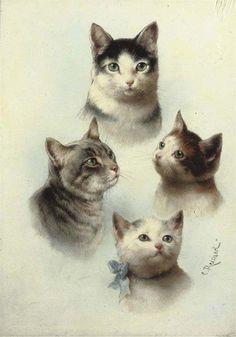 CARL REICHERT (1836-1918, GERMANY) - cat art