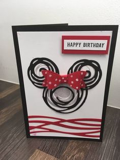 Minnie Mouse card using Stampin Up Swirly Scribbles thinlits die set! Bday Cards, Kids Birthday Cards, Handmade Birthday Cards, Disney Birthday Card, 3rd Birthday, Disney Scrapbook, Scrapbook Cards, Disney Cards, Stamping Up Cards