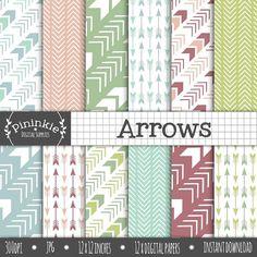 Arrows Digital Paper Chevron Arrows Scrapbook Paper by Pininkie, $4.00