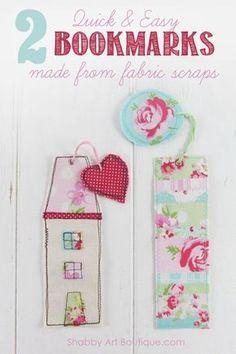 DIY– shabby fabric scrap bookmarks - Shabby Art Boutique