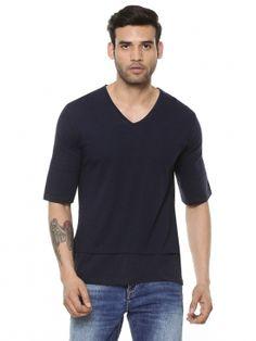Blue Saint Exclusive V-neck Cut & Sew T-shirt